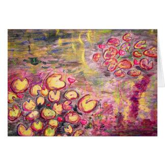 water lilies blooming card