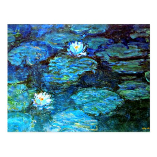 Water Lilies (blue) by Claude Monet Postcards