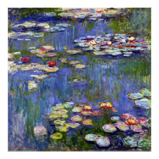 Water Lilies by Monet on Canvas Matte Poster