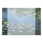 """Water Lilies by Monet Vintage Floral Impressionism 3.5"""" X 5"""" Invitation Card"""