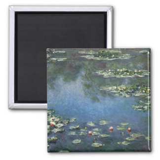 Water Lilies by Monet Vintage Floral Impressionism 2 Inch Square Magnet