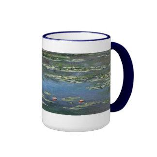 Water Lilies by Monet Vintage Floral Impressionism Ringer Coffee Mug