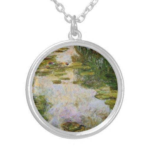 Water Lilies - Claude Monet Round Pendant Necklace