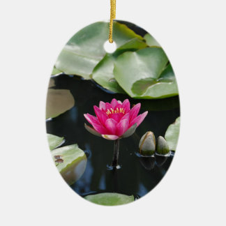 water lilies Double-Sided oval ceramic christmas ornament