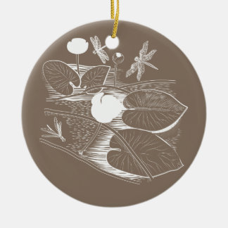 Water-lilies engraving ceramic ornament