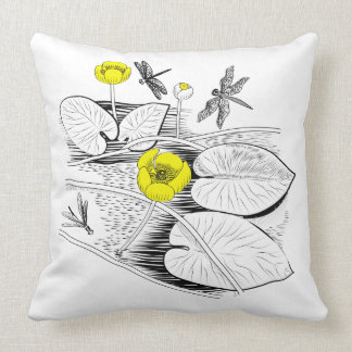 Water-lilies engraving throw pillow