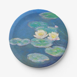 Water Lilies, Evening Effect by Monet Paper Plate