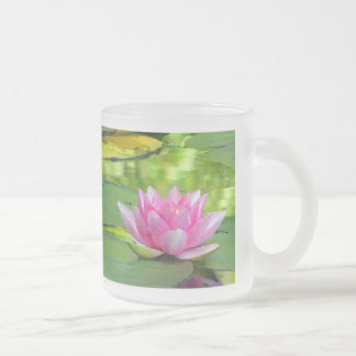 Water Lilies Frosted Glass Coffee Mug