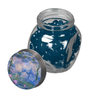 Water Lilies Glass Candy Jar