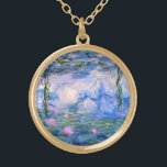 """Water Lilies Gold Finish Necklace<br><div class=""""desc"""">Water Lilies is a series of over 200 oil paintings by French Impressionist Claude Monet. This painting,  completed in 1919,  features shades of blue and pink.</div>"""