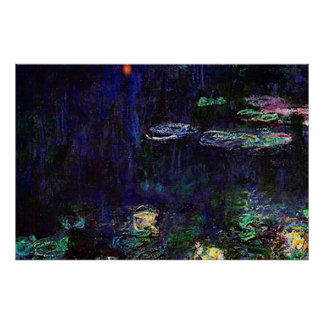 Water Lilies, Green Reflection, 1920-1926 Poster