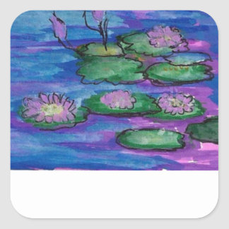 Water Lilies Impressionist Book /Kindle Plates Square Sticker