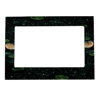 Water Lilies in the Rain Frame Magnet