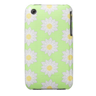 Water Lilies Light Green Background iPhone 3 Cover
