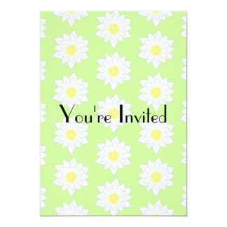 Water Lilies, Light Green Background. 5x7 Paper Invitation Card