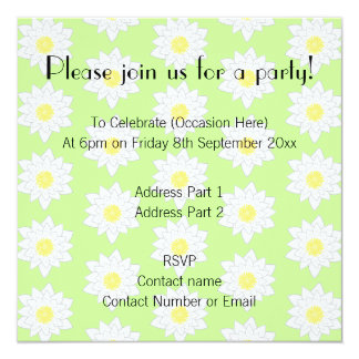 Water Lilies, Light Green Background. 5.25x5.25 Square Paper Invitation Card
