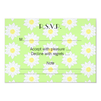Water Lilies, Light Green Background. 3.5x5 Paper Invitation Card