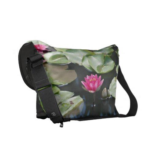 water lilies messenger bag