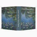 Water Lilies, Monet, Vintage Impressionism Flowers 3 Ring Binders