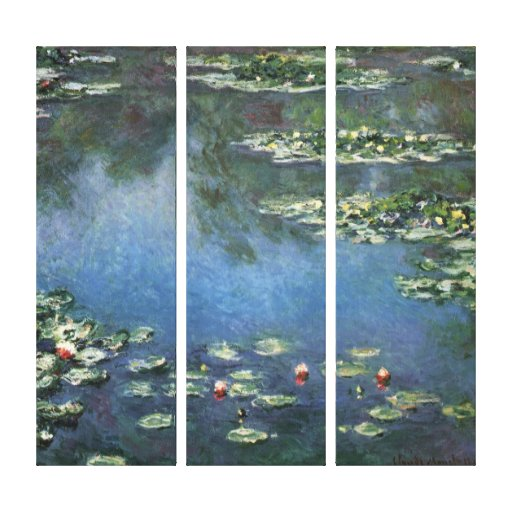 Water Lilies, Monet, Vintage Impressionism Flowers Gallery Wrap Canvas