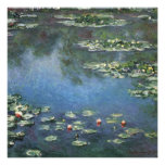 Water Lilies, Monet, Vintage Impressionism Flowers Personalized Invitations