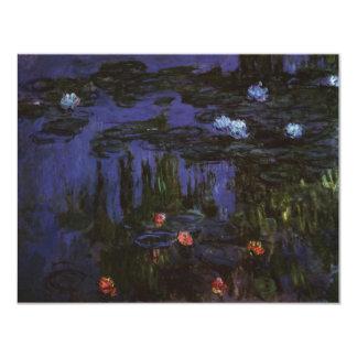 Water Lilies, Monet, Vintage Impressionism Flowers 4.25x5.5 Paper Invitation Card