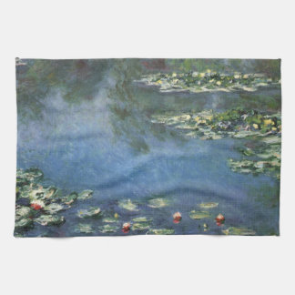 Water Lilies, Monet, Vintage Impressionism Flowers Hand Towel