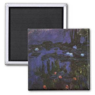 Water Lilies, Monet, Vintage Impressionism Flowers 2 Inch Square Magnet