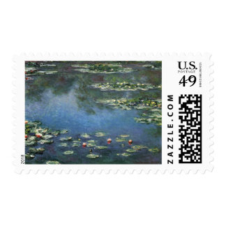 Water Lilies Monet Vintage Impressionism Flowers Stamps