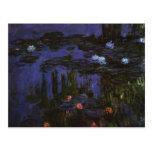 Water Lilies, Monet, Vintage Impressionism Flowers Postcard