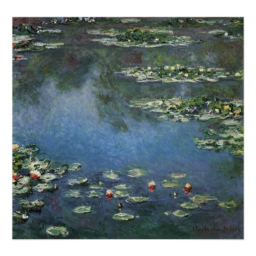 Water Lilies, Monet, Vintage Impressionism Flowers Print