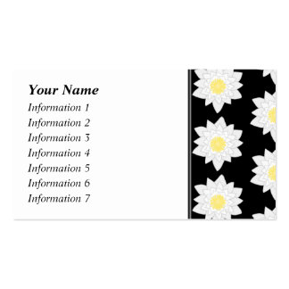 Water Lilies on Black. Floral Pattern. Double-Sided Standard Business Cards (Pack Of 100)