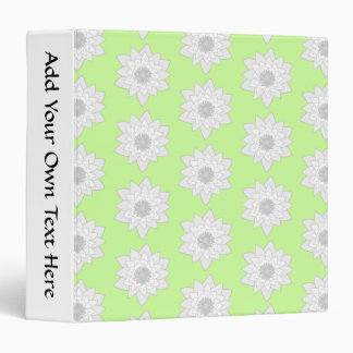 Water Lilies Pattern in Green, White and Gray. 3 Ring Binder