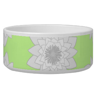 Water Lilies Pattern in Green, White and Gray. Bowl