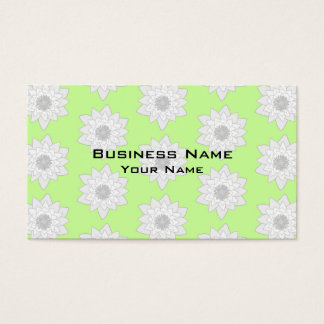 Water Lilies Pattern in Green, White and Gray. Business Card