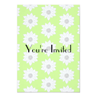Water Lilies Pattern in Green, White and Gray. 5x7 Paper Invitation Card