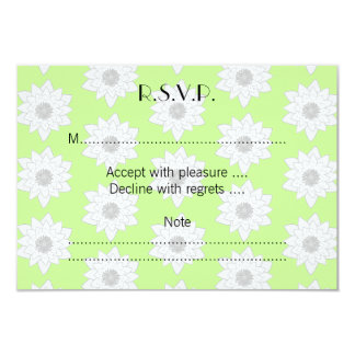Water Lilies Pattern in Green, White and Gray. 3.5x5 Paper Invitation Card