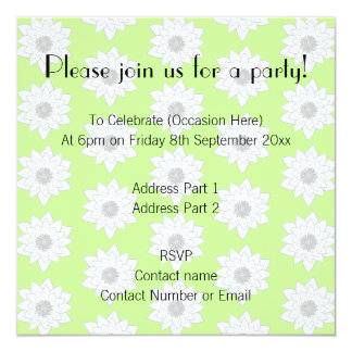 Water Lilies Pattern in Green, White and Gray. 5.25x5.25 Square Paper Invitation Card