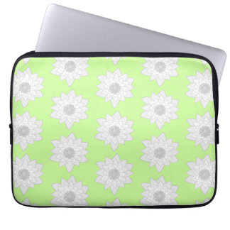 Water Lilies Pattern in Green White and Gray Laptop Sleeves