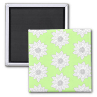Water Lilies Pattern in Green, White and Gray. Magnet