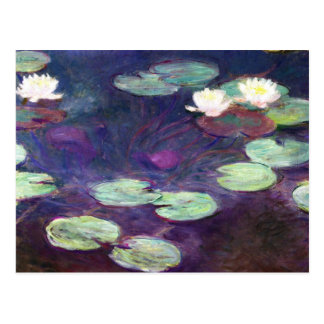 Water Lilies, Pink, 1897-99 Claude Monet cool, old Postcard