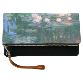 Water Lilies Pond Reflections Monet Fine Art Clutch