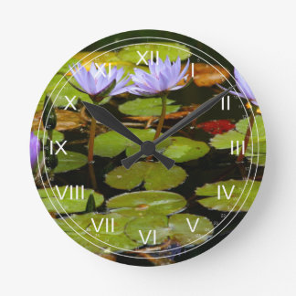 Water lilies round clock