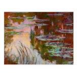 Water-Lilies, Setting Sun Monet Fine Art Postcard