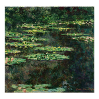 Water Lilies with Reflections Poster
