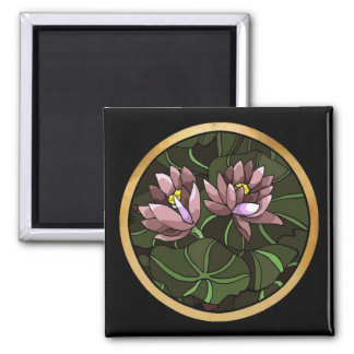 Water Lillies 2 Inch Square Magnet
