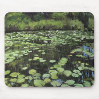 Water lillies print on mouse pad