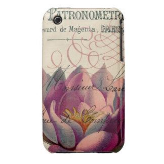 Water Lilly French Ephemera Collage Art iPhone 3 Cases