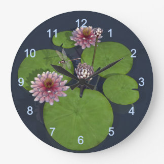 Water Lily and Dragonfly Large Clock