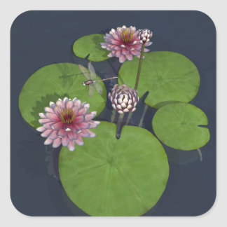 Water Lily and Dragonfly Square Sticker